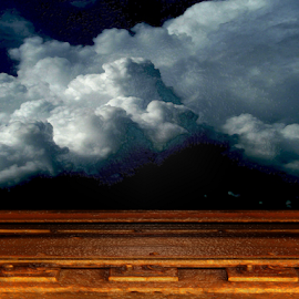 Third Rail by Edward Gold - Digital Art Things ( digital photography, thick cloud background, tree silhouette, third rail, dark sky,  )
