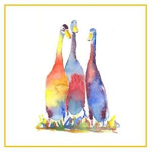 water colour painting of indian runners