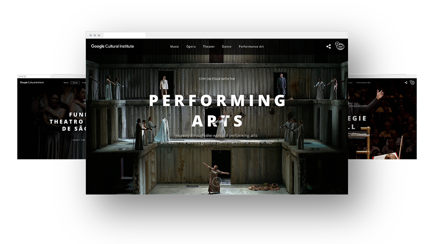 Website landing page showing a theatre performance