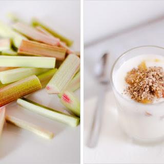 Stewed Rhubarb with Walnut-Coffee Crumbs Recipe