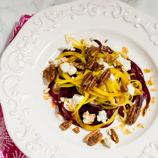 Spiralized Beet and Goat Cheese Salad