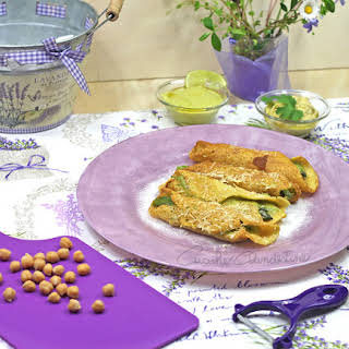 Chickpeas Flour Crepes With Asparagus Filling.