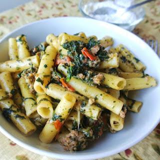Italian Sausage & Spinach with Ziti.