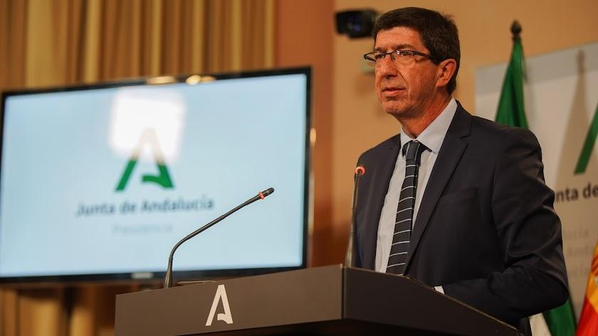 Juan Marín, durante su intervención.