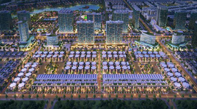 Tổng thể dự án bất động sản về đêm tại Đông Tăng Long