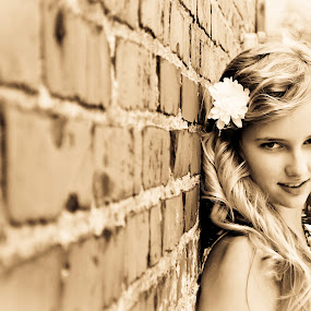 Clarice  by Sawyer Jones Photography  - People Portraits of Women ( picture, blonde, sepia, girl, black and white, woman, sawyer jones photography, hair, nikon d5000 )
