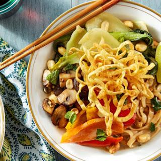Coconut & Lemongrass Wonton Noodles with Mushrooms, Bok Choy, & Peanuts Recipe