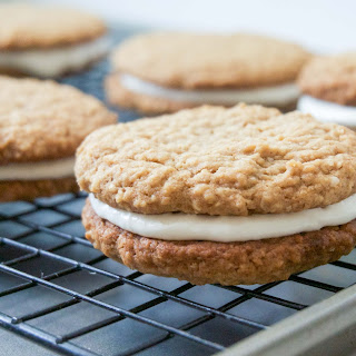 Oatmeal Sandwich Cookies with Marshmallow Cream Filling.