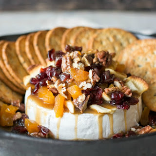 Baked Brie with Dried Fruit, Nuts, and Butterscotch.