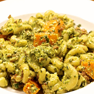 Autumnal Squash Pasta with Kale and Edamame Pesto and Sausage Crumb