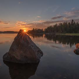 A quiet summer evening by Torolf Vikström - Landscapes Sunsets & Sunrises ( sky, cloud, waterscape, sunset, stones, evening )