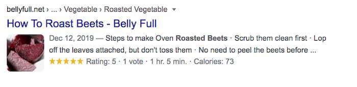 Kết quả nhiều định dạng về công thức hiển thị hình ảnh củ cải nướng cùng với xếp hạng sao, đó là lý do tại sao SEO vẫn chưa chết