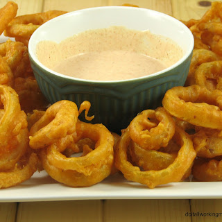 Spicy Onion Rings & Dipping Sauce.