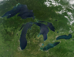 Photo: NASA image acquired August 28, 2010Late August 2010 provided a rare satellite view of a cloudless summer day over the entire Great Lakes region. North Americans trying to sneak in a Labor Day weekend getaway on the lakes were hoping for more of the same.The Great Lakes comprise the largest collective body of fresh water on the planet, containing roughly 18 percent of Earth's supply. Only the polar ice caps contain more fresh water. The region around the Great Lakes basin is home to more than 10 percent of the population of the United States and 25 percent of the population of Canada.Many of those people have tried to escape record heat this summer by visiting the lakes. What they found, according to The Hamilton Spectator, was record-breaking water temperatures fueled by record-breaking air temperatures in the spring and summer. By mid-August, the waters of Lake Superior were 6 to 8°C (11 to 14°F) above normal. Lake Michigan set records at about 4°C (7°F) above normal. The other th