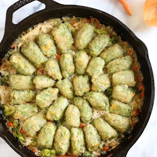 Skillet Chicken and Broccoli Veggie Tot Pie.