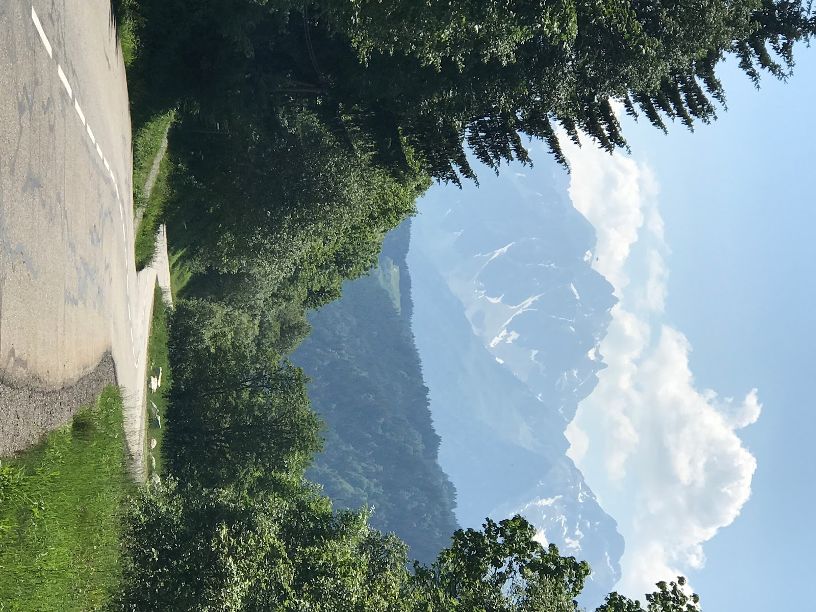 Bike climb of Col de Madeleine from La Chambre  - roadway and mountains