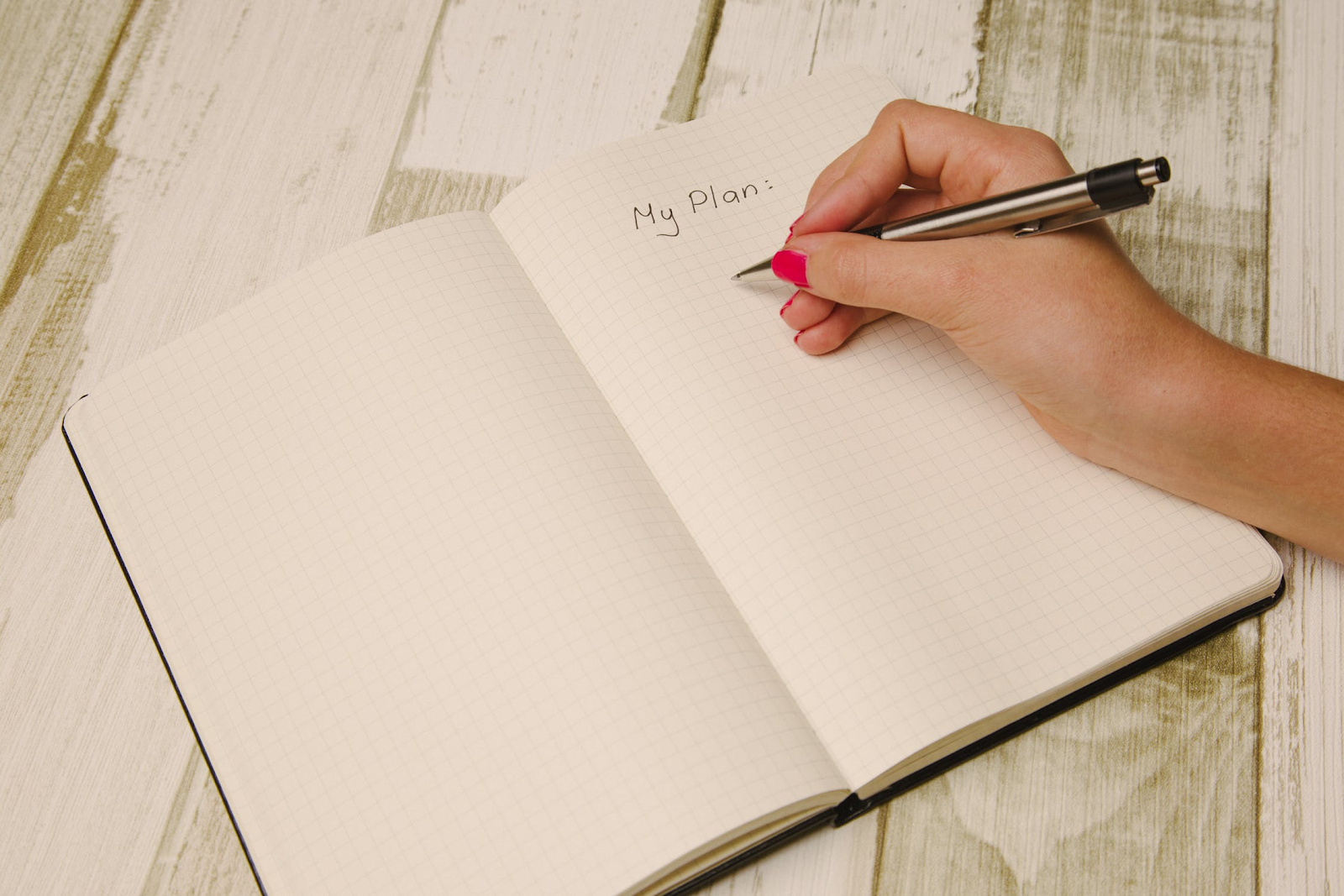 "hand writing ""my plan"" in a journal"