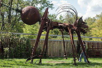 """Photo: """"Juicer Bug"""" More scrap metal art from Tom Every, """"Dr. Evermor."""" This piece weights 15 tons. His sculpture garden will be featured on American Pickers this September.  #rust  #rusty  #artwork"""