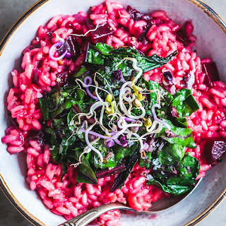 Red Beet Risotto with Garlic Sautéed Greens.
