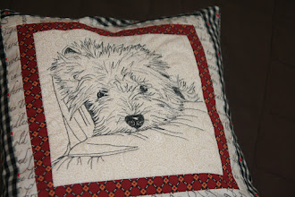 Photo: морда собаки - рисование-вышивание  на швейной машинке