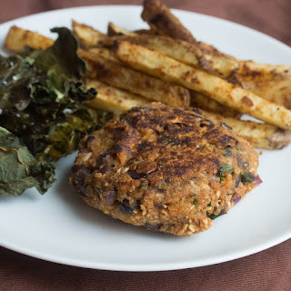 Sweet Potato, Black Bean + Quinoa Veggie Burgers