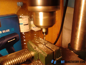 Photo: Drilling the center of the threaded rod