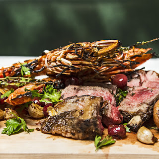 Grilled Rib Eye and Prawns