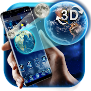 3D Earth and moon launcher theme