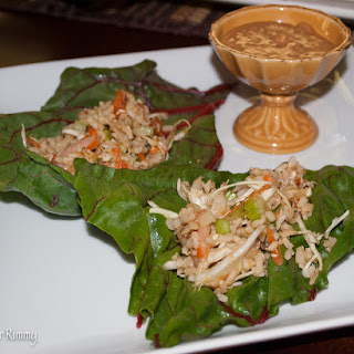 Chard Rolls with Shrimp, Brown Rice and Peanut Sauce