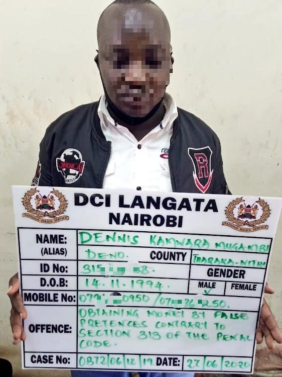 One of the suspects Dennis Mugambi Kamwara.