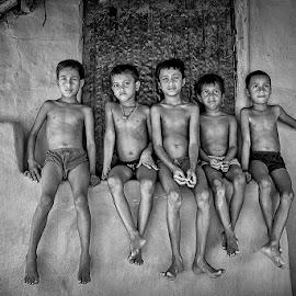 Mates by Avik Sarkar - Black & White Portraits & People ( children, portraits, asian, boys, black and white, teen, village, india, friends )