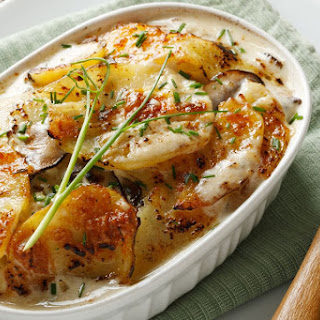 Spicy Vegan Scalloped Potatoes with Green Chilies.