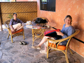 Photo: Marjy and Mary-Carter relax outside their room at the pleasant Iguana Inn, where we stayed in Loreto