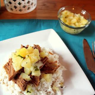 Slow Cooker Pineapple Teriyaki Pork with Pineapple Relish.