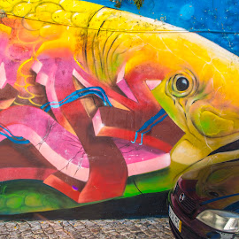 Fish Mural and Car Reflections, Lisbon by Venetia Featherstone-Witty - City,  Street & Park  Neighborhoods ( travel photography, lisbon, fish, portugal, murals, graffiti, streetart, colors,  )