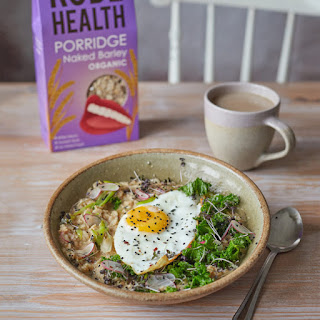 Miso, Barley Porridge with Winter Greens and Fried Egg.