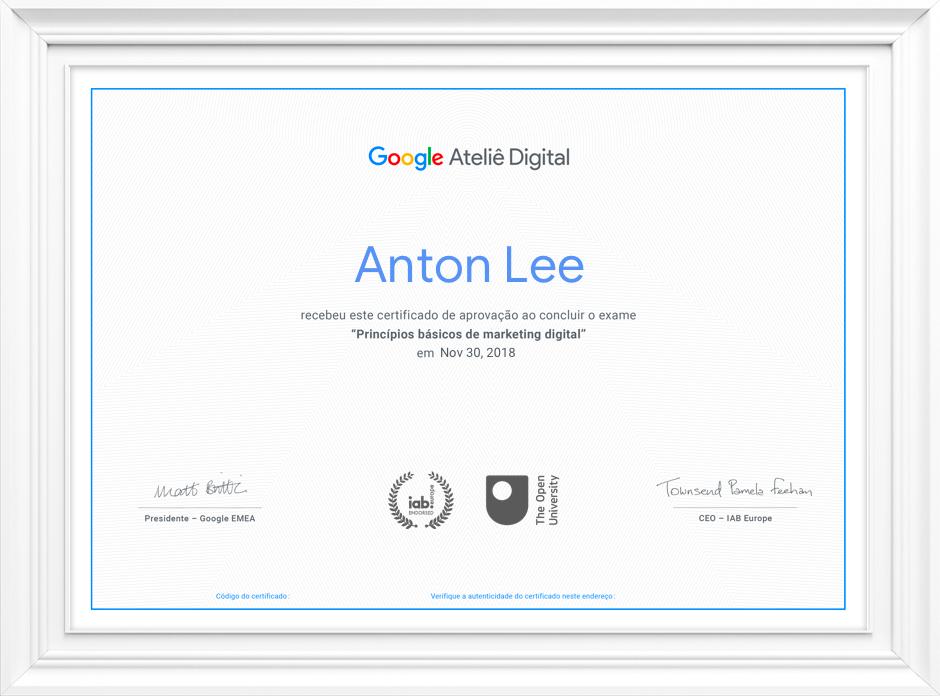 Certificado Curso Online de Marketing Digital do Google