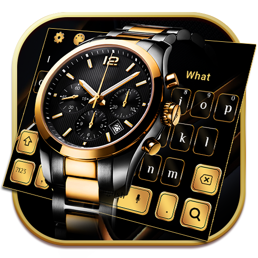 Luxury Black Gold Watch Keyboard Theme Android APK Download Free By Glossy Themes Launcher