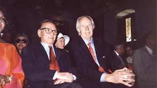 Ennio Morricone junto al productor musical George Martin en un homenaje en Alcalá en el año 2001. / Foto: Javier A. Iglesias