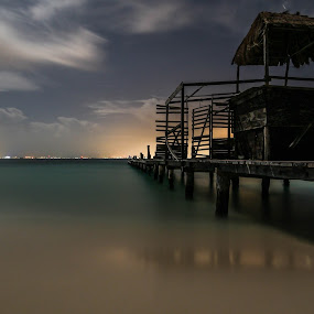 Evening Jetty by Glenn Angel - Landscapes Waterscapes ( mexico, ocean, jetty, isla mujeres, dock )