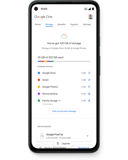 Screen shows Google One, which you free for 3 months, plus 100 GB of cloud storage and automatic backup across Google Drive, Gmail, Google Photos, and more.