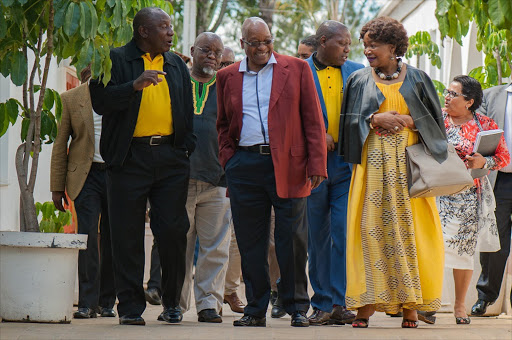 BIG SIX: ANC deputy president Cyril Ramaphosa, secretary-general Gwede Mantashe, President Jacob Zuma, treasurer Zweli Mkhize, chairman Baleka Mbete and deputy secretary-general Jessie Duarte