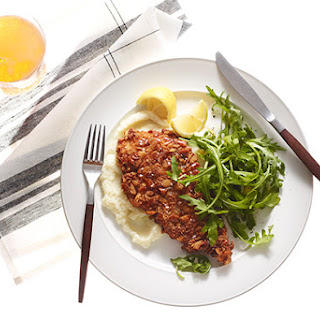 Pretzel-Crusted Chicken Cutlets with Cauliflower Purée and Arugula