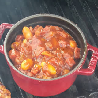 Smoky Haricot beans with chorizo in a tomato sauce.