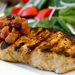 Grilled Orange Soy New York Pork Chops with Apple Ginger Cranberry Chutney