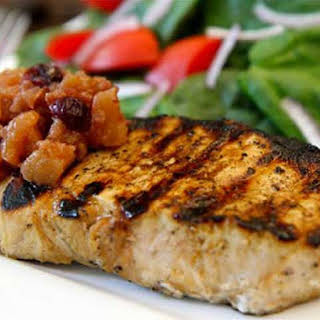 Grilled Orange Soy New York Pork Chops with Apple Ginger Cranberry Chutney.