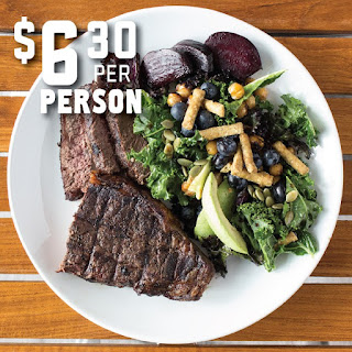 Grilled Steak and Kale Salad with Chickpeas and Blueberries.