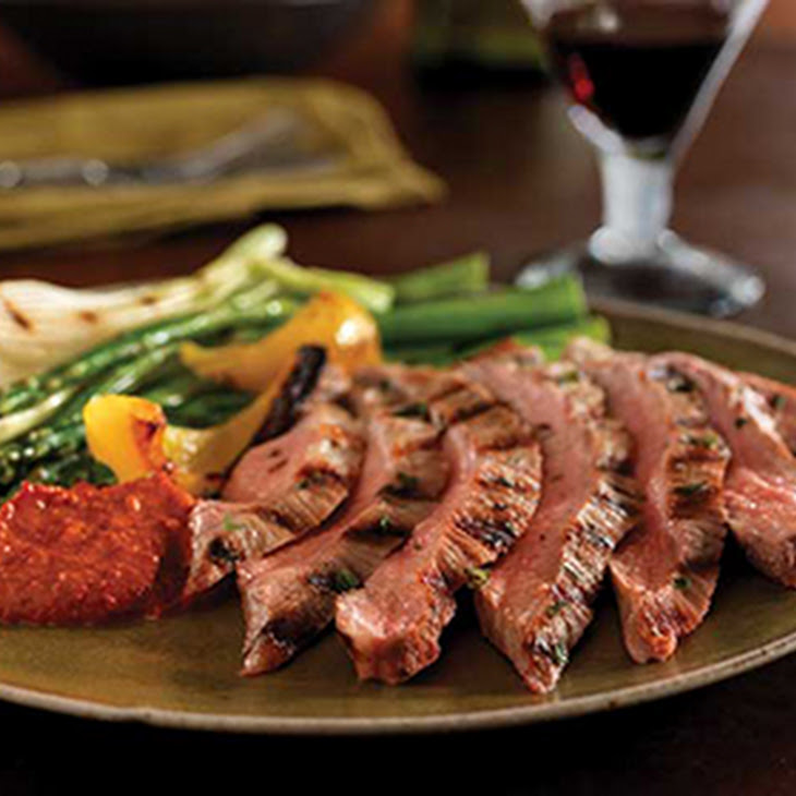 Grilled Secreto with Sauce Romesco and Grilled Vegetables Recipe