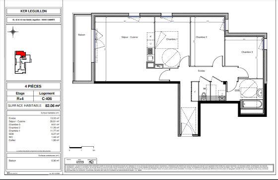 Vente appartement 4 pièces 82,07 m2