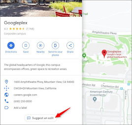 Suggest an edit button on Google Maps business listing